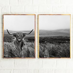 Highland Cow Print and Poster, Farm Animal Wall Art Scottish Cow Canvas Painting Black White Pictures Farmhouse Kitchen Decor