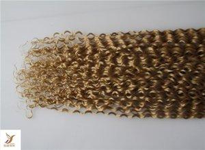 İnsan Uzantıları 40pcs yılında Bleach Blonde Renk Kıvırcık Remy Saç Çift Drawn PU Deri Atkı Tied El% 100 Teyp