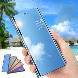 Clear View Smart Mirror Stand Funda para teléfono para Samsung Galaxy S9 S8 Plus Note 8 9 Funda con tapa de cuero con solapa Retrovisor original