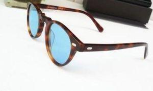Calidad superior Gregory Peck Vintage hombres mujeres ov 5186 gafas ov5186 gafas de sol polarizadas 45mm diseño retro marca gafas de sol con estuche