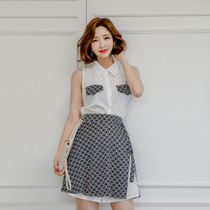 2 Pieces Set Women White Shirts Dress Sleeveless Long Tops Blouses Black Mini Skirt Sexy Party Office Ladies Womens Dress Suits