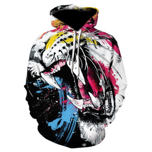 New Style Animal Hot Fashion Colourful Graffiti Tiger Hoodies 3D Print Clothing Women Men Unisex Funny 3D Hoodies Casual Pullovers Tops K555