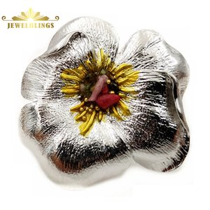 Fancy Designer Enamel Pistil Metallic Flower Brooch Silver Tone Petal Colored Stone Domed Vintage Metal Floral Pin Party Jewelry