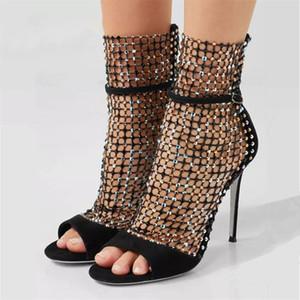 Moda Peep Toe Women Pumps 10CM Tacchi alti scarpe da donna strass abito da sposa Donna Stiletto scava fuori stivaletti