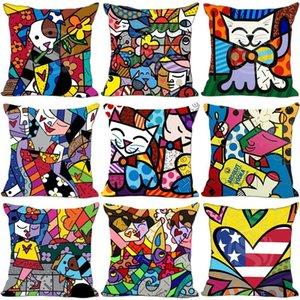 Fumetto stampato federa Moda Romero Britto di stile della famiglia sofà Decor Cuscino Cotone Lino Row 6my Ww