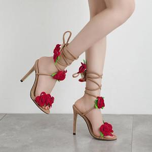 sandálias ao ar livre flor de salto alto moda casual simples e elegante deslizamento aberto toe personalidade das mulheres CHAMSGEND 2019 New Verão