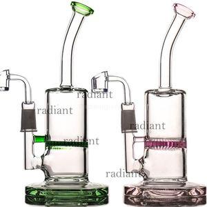 "Glas Bong Dab Rig Wasserrohre 8"" Tall 5mm dicke Quarz Banger Honeycomb Perc Rosa Bongs Heady Minipfeifen Wachs-Öl Rigs Bubbler"