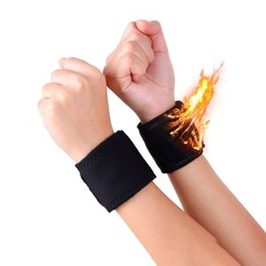 1 Par Negro ajustable El calentamiento espontáneo caliente banda reloj de turmalina Imán ayuda de muñeca correas Wraps Deportes Muñequera