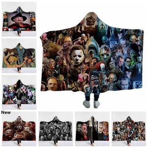 공포 후드 담요 3D 인쇄 공포 영화 문자 고딕 할로윈 킬러는 셰르파 양털 착용이 카펫 GGA2168을 던져 담요