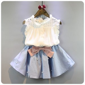 2-8 Years Kids Clothes for Girls The Bow Skirt and Lace Top Summer Suit Korean Style Children's Clothing Sets Baby Toddler Set CY200515