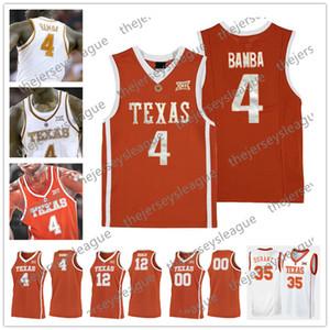 Техас Longhorns Custom Любое имя Любое число сшитый оранжевый белый # 4 Мохамед Бамба Ретро NCAA Колледж Баскетбол Джерси S-4XL