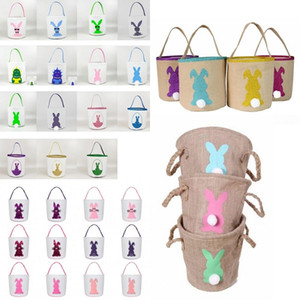 Cestas Coelho da Páscoa Cesta de serapilheira Saco do coelho da orelha de coelho Printed Canvas Tote Bag Crianças Doce ovo 48 estilos