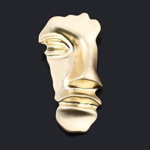 SG Big Altın Yarım Yüz Broş Yarım İnsan Yüz Yaka Hicap Pim İçin Kadın Erkek Gömlek Kaban Aksesuar Takı Maske Exaggerated