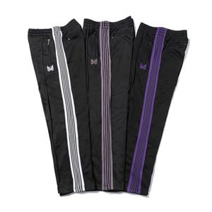 IGNELERI 3 Renkler Pantolon High Street İpli Moda Sweatpants Kelebek İşlemeli Yan Çizgili Erkekler Kadınlar Uzun Pantolon