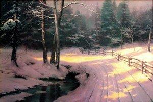 Pinturas de impresión al óleo de Thomas Kinkade invierno Glen Decoración pintada a mano de alta definición en la lona Wall Art Imágenes 200131
