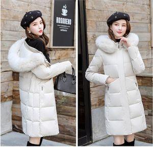Rivestimento delle donne delle signore di inverno reale Raccoon Fur Collar anatra giù all'interno cappotto caldo Femme con tutti i tag con cappuccio inverno caldo cappotto