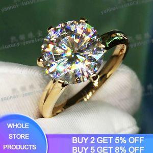 Yanhui Have 18K RGP rein festes Gelbgold Ring Runde Solitaire 8mm 2.0ct Lab Diamant-Hochzeit Ringe für Frauen ZSR169