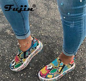 Fujin zapatos de los planos plataforma de la moda 2020 nueva plataforma de los zapatos de mujer que camina planos del cuero Calzado Mujeres PU de la impresión de la serpiente