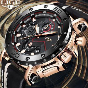New 2019 LIGE Chronograph Herren-Uhren Top Mode-Quarz-Uhr-Mann-wasserdichte Uhr Male Sport-Armbanduhr
