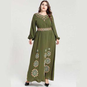 Siskakia Plus size women Long Dress Chic Floral Embroidered Loose Belted Elegant Middle East Muslim Dresses Long Sleeve V Neck