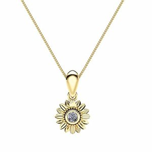 Cheap Pendant Necklaces MKENDN New CZ Stone Fashion Jewelry Femme Gold Silver Color Cute Sunflower Crystal Pendant Necklace for Women