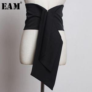 [EAM] 2019 neue Frühlings-Sommer-unregelmäßiger Cut Knoten Split Joint Elastic Personality Breite Gürtel Women Fashion Tide All-Match JS618