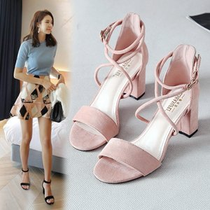 Sandals Female Summer Middle-heeled Thick with 2020 New Word Buckle Fairy Style Korean Version Wild Student Roman High Heels