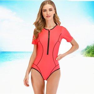 Seksi Döküntü Guard Mayo Kadınlar One Piece Mayo Fermuar parça bikini mayo Spor Bodysuit Beachwear Mayo yüzün Rashguard