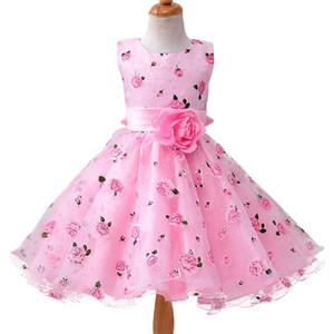 New Summer Baby Girl Clothes Print Flower Girl Dress For Wedding Girls Party Dress With Bow Dress J190710