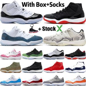 Новые 11 11s High Concord 45 Space Jam змеиной Мужские ботинки баскетбола Бред Наследница Гамма Синий Змеиная кожа Мужчины Спорт Дизайнерские кроссовки Кроссовки