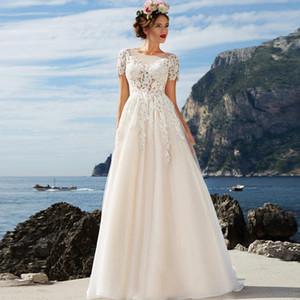 Belle Scoop manches courtes A-ligne Robes de mariée Robes de mariée en dentelle appliques de jardin en ligne personnalisé Fermeture à glissière Retour Robe De Mariee