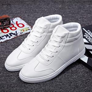 남성의 가황 신발 레이스 업 남성 캐주얼 신발 패션 하이 탑 남성 통기성 편안한 흰색 운동화 남성의 플랫 신발 H78