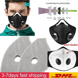 DHL gratuito Andar de bicicleta máscaras de filtro 5 camadas Máscara Facial Filtro Pad Com carvão ativado máscara Filtros respiração bucal Muffle Insert Sem Máscara