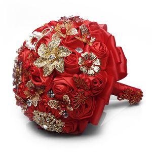 China Estilo Flores De Cetim Vermelho Bouquets De Noiva Broche De Cristal Da Dama De Honra Segurando Flores Artesanais 2019 Manual Bouquet
