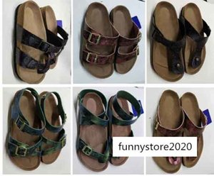 new designer mens Slippers Mens Flat Sandals Women Shoes one Buckle Fashion design Arizona Summer Beach Top Quality With Orignal shoes Box