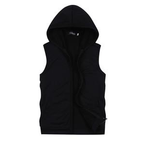 Мужские куртки 2021 летний чистый цвет без рукавов с капюшоном S M L XL 5XL синий черный белый серый мода повседневная мужская куртка