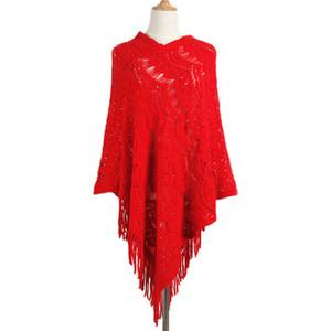 ZADORIN Suéteres y suéteres para mujer Franja sólida Asimétrica Con cuello en V Suéter de punto Ahueca hacia fuera Capa Mantón Casual Streetwear