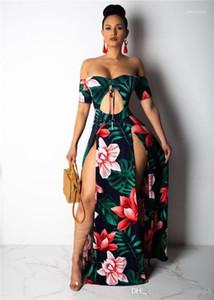 Corte Neck Strapless Vestido Mulheres Moda cintura oco Out assimétrica Flord Imprimir vestido de verão sexy de Split