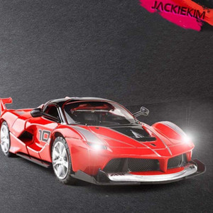 01:32 Supercar No.10 FXXK aleación del coche modelo del coche del vehículo del juguete con pull-back regalos de luz y sonido para los niños juega el envío libre J190525