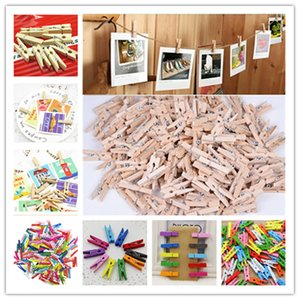 10-100Pcs pack Hot Sale Mini Natural Wooden Clothes Photo Paper Peg Pin Clothespin Craft Clips School Office Stationery
