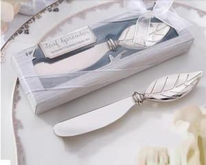Edelstahl-Blatt-Form-Buttermesser Brot Griff Meister Frühstück Werkzeug Dessert Jam Spreader silberne Platte Weinlese
