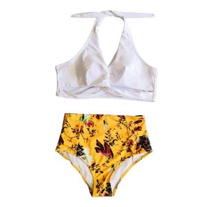 Women Swimwear Summer Beach Halter Fresh Print Two Pieces Sexy Bikini Swimsuit Casual Bathing Tops for Party 18May11