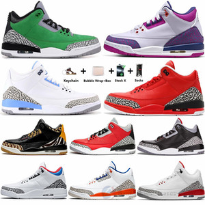 Nike Air Jordan AJ3 Jumpman 3s peine Animal Instinct Raisin UNC Noir Blanc Ciment 3 Chaussures de basket Pure White SEOUL Hommes Baskets Designer Baskets