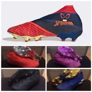 Nemeziz 19+ Spider-Man Polarize paquete Cableado de fútbol zapatos oscuros Guión scarpe da Calcio 302 de redireccionamiento Messi grapas del 19,1 Baja Botas de fútbol