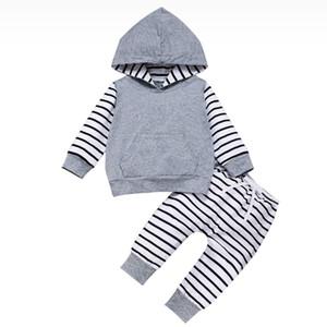 Säuglings-Baby-Printed Outfits Kids Mädchen Floral Striped Hoodie Tops Kinder beiläufige Kleidung Junge Camouflage-Sets Kleinkind-Splice-beiläufige Klage-06
