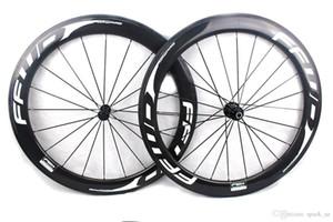 FFWD hızlı ileri F6R karbon bisiklet tekerlekleri tüm beyaz çıkartmalar tübüler yol bisiklet perçinlemesini 60mm tekerlek seti 700C genişliği 25mm Powerway R13 göbek