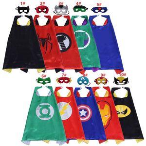 10 stilleri Superhero Cape Çocuklar erkekler 27inch Çizgi Film Çocuk Cosplay Cadılar Bayramı Kostüm Parti Hediyeleri için ayarlama Maskesi