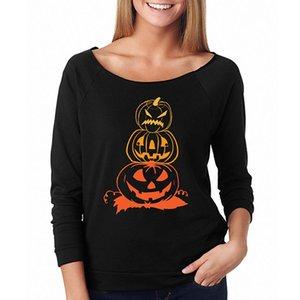 Traje de la camiseta de Halloween para mujer de manga larga Calabaza Terror Fantasía primer golpe