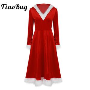 Vestido TiaoBug Mulheres Red Christmas Costume Feminino Velvet manga comprida com capuz vestido Xmas férias Santa Claus Família Cosplay Partido