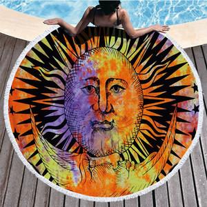 Ronda de poliéster toalla de playa Hippie Hippie de Boho Mandala tapiz indio Mantel Yoga Mat Protector solar abrigo del mantón de picnic Mat RRA3114